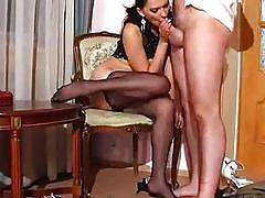 Black nylon pantyhose feet fetish