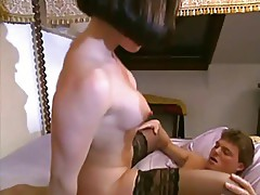 A french brunette has an sex encounter at an hotel